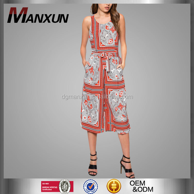 Nice jumpsuit with culotte ladies african print women jumpsuits 2016