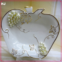 Porcelain white square fruit plate with jewels for gifts ceramic plate