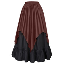 Belle Poque Women's Renaissance Medieval Gothic Victorian Asymmetrical Two-Layers Coffee Skirt BP000467-2