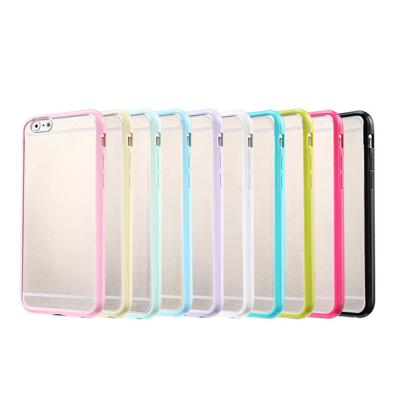 Hot sale transparent quicksand mobile phone case for apple iphone6/6s with candy double color