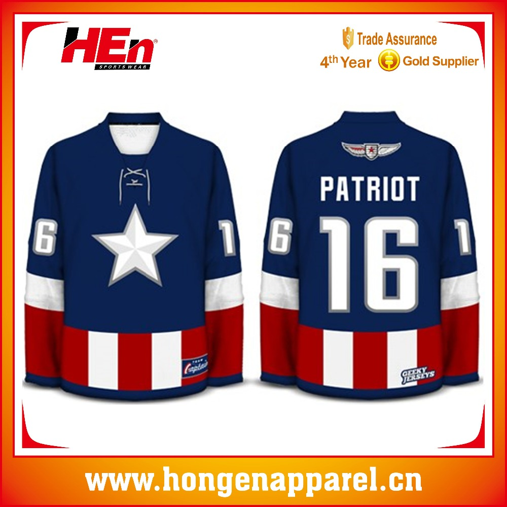 Hongen apparel 2016 Authentic hockey jersey fully sublimated custom hockey player sports jersey