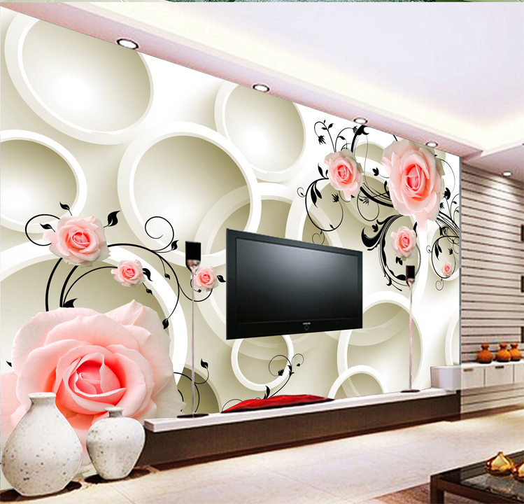 Latest design cheap rose picture living room 3d home for Cheap living room wallpaper