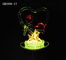 promotion hotsell valentine glass crafts with rose and led light