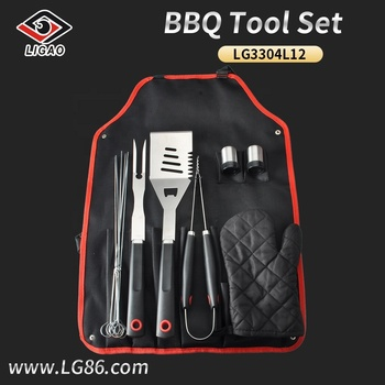 12pcs stainless steel grill with apron bag and plastic handle