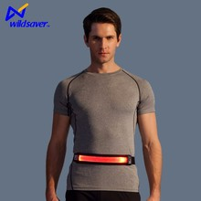 High visibility reflective waist running belt with LED light