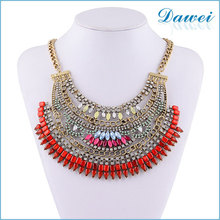 Ladies Accessories Vintage Red Fashion Jewelry Statement Crystal Necklace