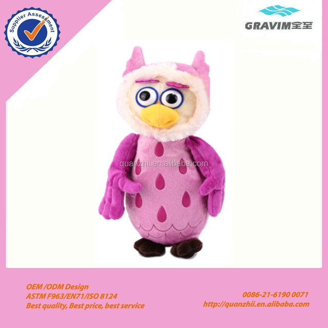 Custom cute stuffed plush pink owl with big eyes doll Toy for baby game