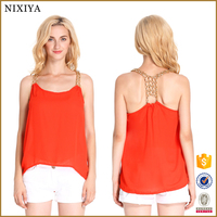 Chain Strap Tank Tops Womens Semi Formal Tops and Blouses