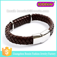 Wholesale braided leather bracelet for men/women custom crystal leather bracelet with magnetic clasp #B016