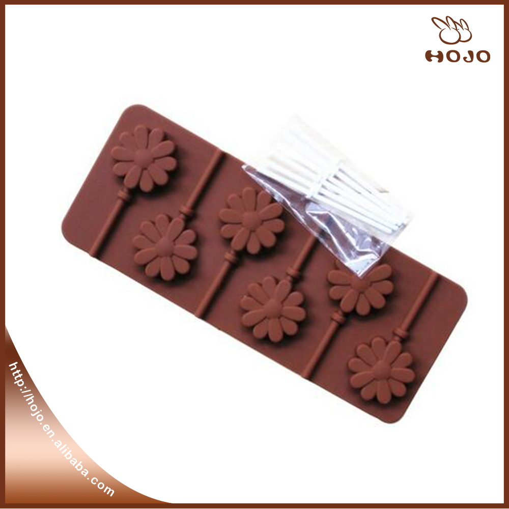 Mold with Plastic Rod Sunflower Chocolate Pop Lollipop Mold Cake Cookie Baking Tray Silicone Fondant Cake Decoration Mold