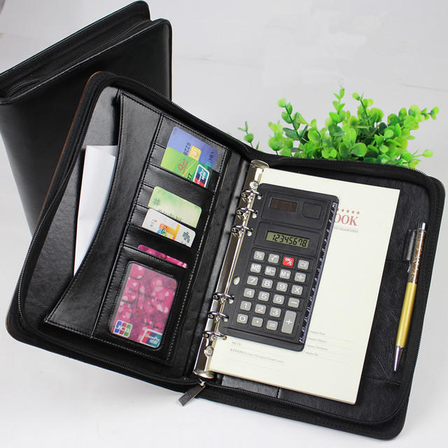 Pu Leather A4 Zipper Portfolio Case With Card Holders and calculator