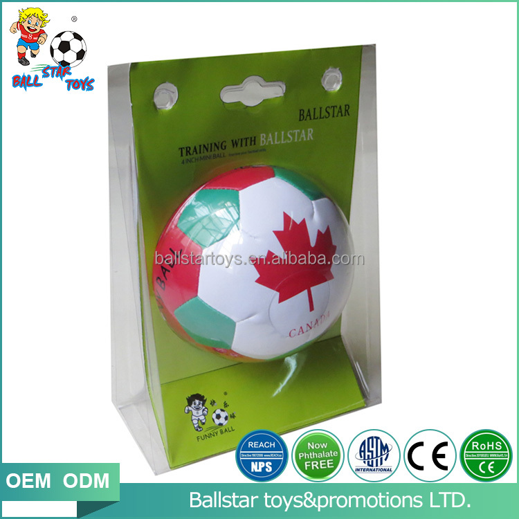 PVC leather stuffed promotional soft soccer ball gift with clam packing in 4 inch