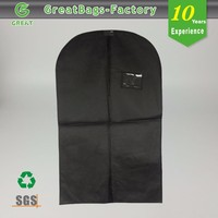 Biodegradable garment bag with name card holder for dry cleaning, clothing stores