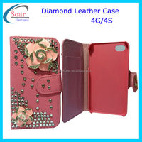 3d flower diamond crystal swatchway case for iphone 4 4g 4s