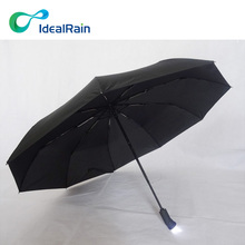 3 Fold Unique 9 Ribs Automatic LED Folding Umbrella