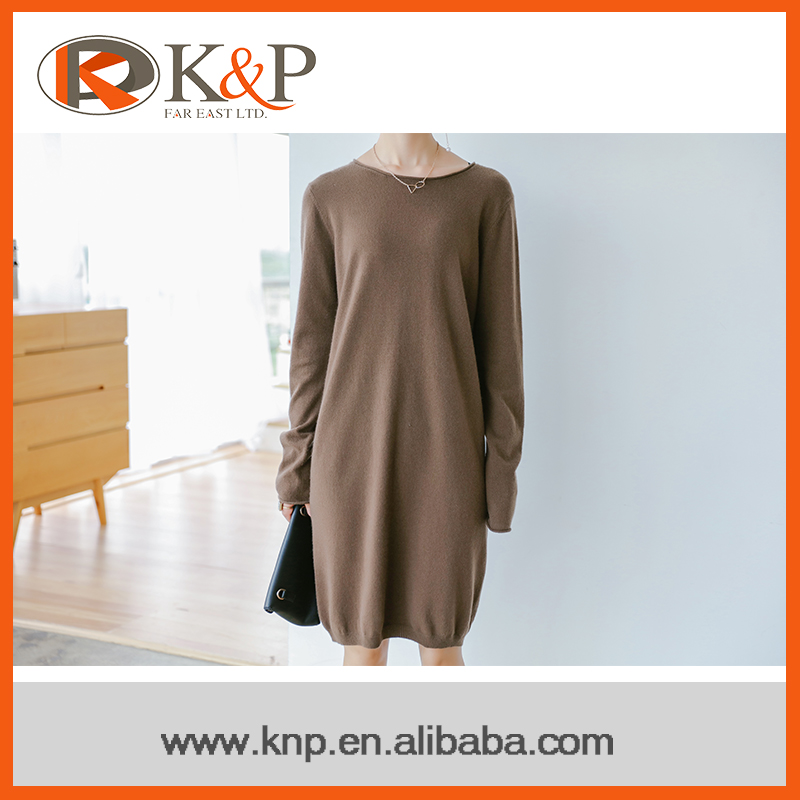 100% Cashmere model girl knitted dress , ladies sweater one price dress