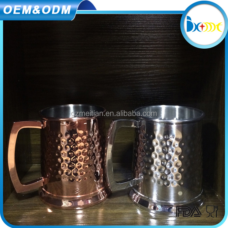 Wholesale stainless steel beer copper mugs hammered