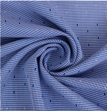 Natural non-ironing polyester cotton viscose blended check shirt cloth point jacquard clothing fabric.