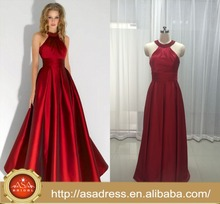 ASEY08 ASA Real Photos Fashion Satin Red Halter Formal Party gowns Evening Dresses