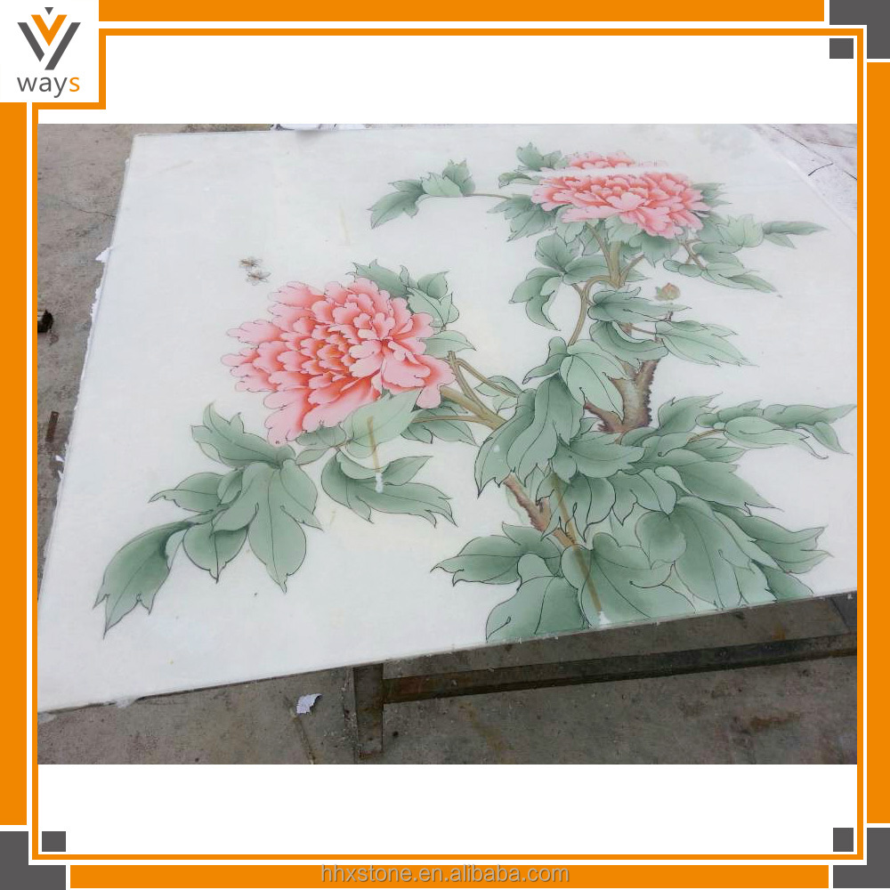 marble glass painting new designs flowers of glass painting