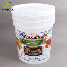 empty 5 US gallon plastic bucket for food storage