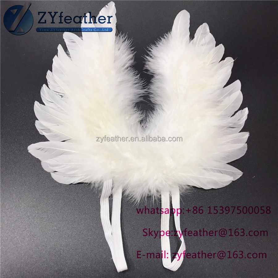 Factory wholesale Can be customized white mini feather angel wing 8inches
