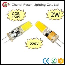 dimmable led 220v cob 1505 bulb glass 2w g4 led lamp bead 220v