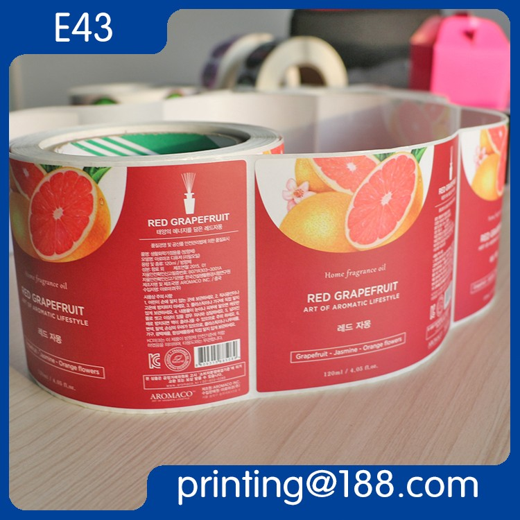 Custom Printed Roll Adhesive Juice Bottle Label plastic bottle label