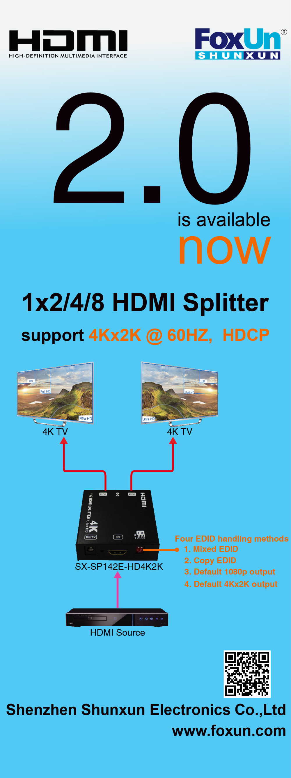 UHD HDMI Splitter 1X4 4K with EDID Amplifier Extender 3D