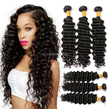 Real virgin human hair extensions cheap malaysian deep wave sew in hair weave