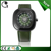 Square dial dark green leather strap quartz movement wrist watch military black watch