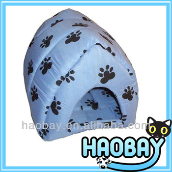 Elegance Light Blue Cotton Cozy Soft Igloo Dog House With Paw Prints