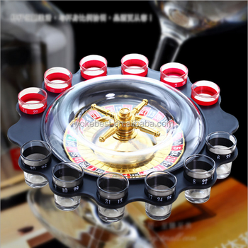 UCHOME Black Table Russian Drinking Roulette Game With 12 Glass Cups