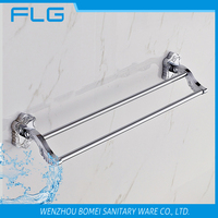 Art Carving Household Hotel Bathroom Accessories Wall Mounted Chrome Finished Brass Double Bar Towel Bar BM15278D Towel Holder