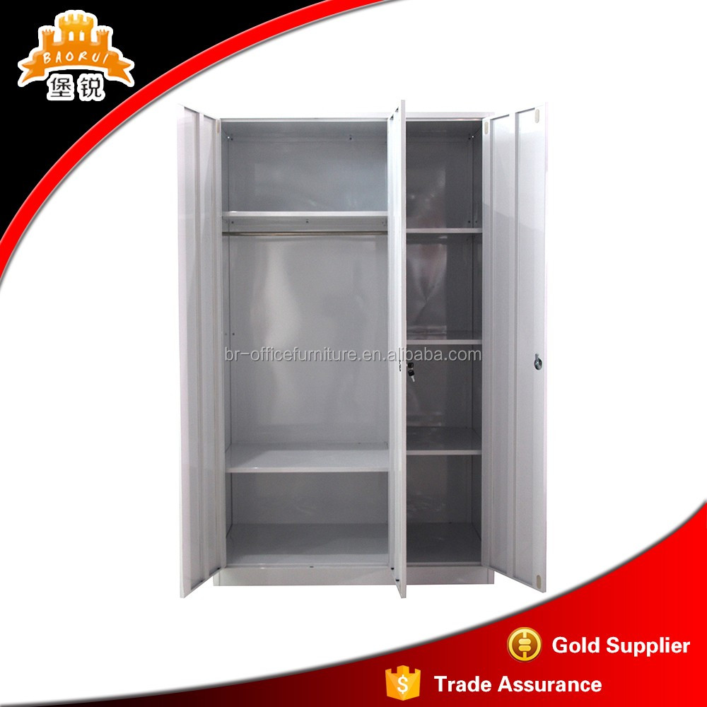 flower printed three door metal powder coated steel cabinet locker gardrobe