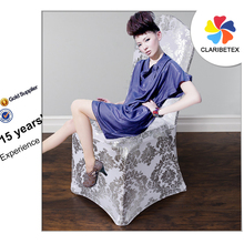 New Concept Wholesale Sliver Metallic Printed Spandex Wedding Stretch Chair Cover