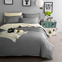 Double Plain Cotton Bedding set/Bed sheet/Quilt duvet cover/Dark gray and light gray