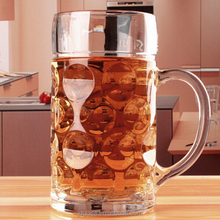 1 Liter and 0.5L Dimpled Glass Beer Stein German Style Extra Large Glass beer mugs