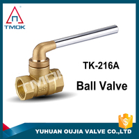 TMOK brand lockable brass ball valve with long key PN25 Mpa 2.5 prolong thread for no leakage