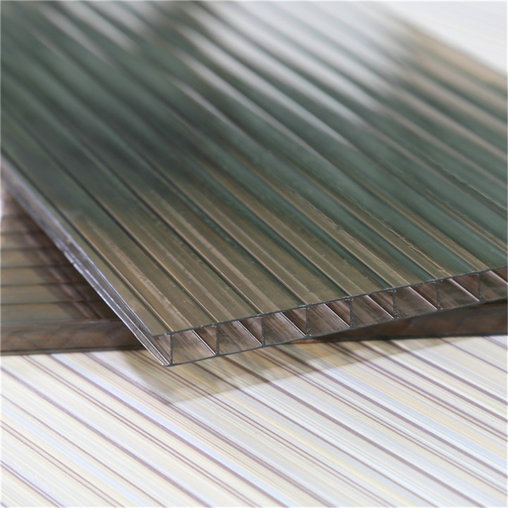 Twin-Wall Hollow Polycarbonate Sheet pc sheet ten years warranty for bus stop roofing