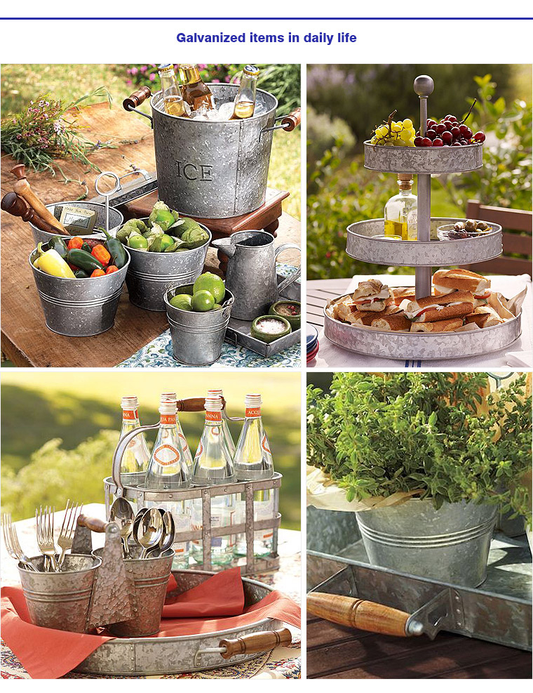 Party Galvanized 3 Tier Serving Stand Tray With Handle