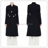 Western design ladies long sleeve woolen coat women winter coat 2015 NT209