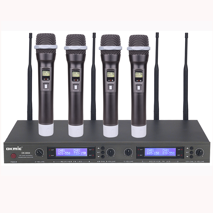 High performance UHF  Four Mic 4 Channels Handheld Wireless Microphone For stage on performance