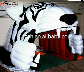 Giant Inflatable White Tiger Sport Tunnel/Inflatable Football Tunnel Tent
