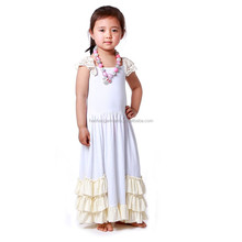 ivory cotton ruffled cap sleeve children long maxi dresses for baby girls party clothing