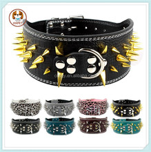 3 Inch Wide Leather Sharp Spikes Studded Dog Pet Collar For Rottweiler Boxer 3 Sizes M L XL