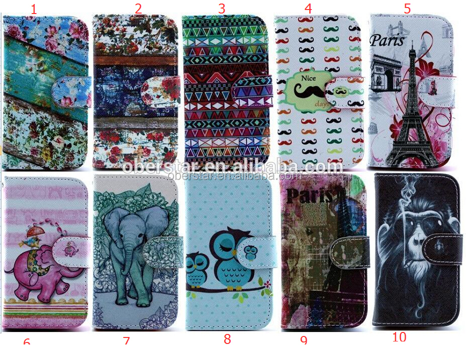 Printed Wallet leather stand case for Samsung Galaxy S4