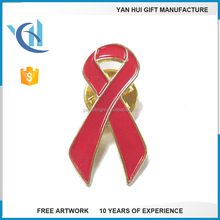 Custom metal pin red ribbon badges pin