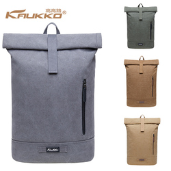 KAUKKO Popular Vintage Polyester Lining Roll Top School Bag Canvas Backpack for Hiking