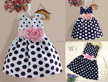 Girls fancy cotton frock polka dots apparel baby party dress children frock design